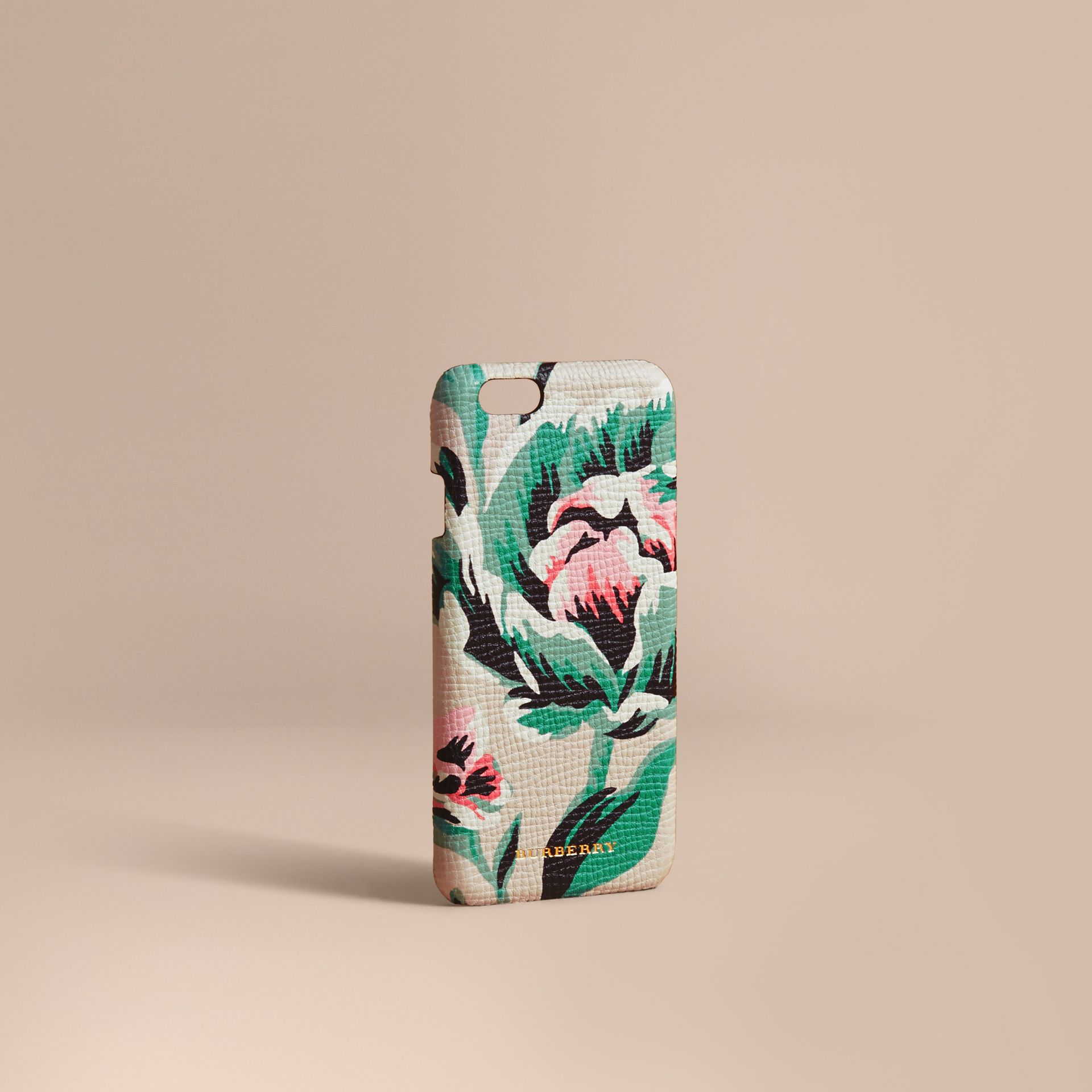 Peony Rose Print Leather iPhone 6 Case Natural / Emerald Green - gallery image 1