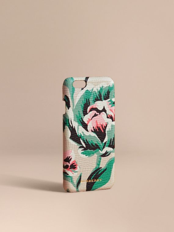 Peony Rose Print Leather iPhone 6 Case Natural / Emerald Green
