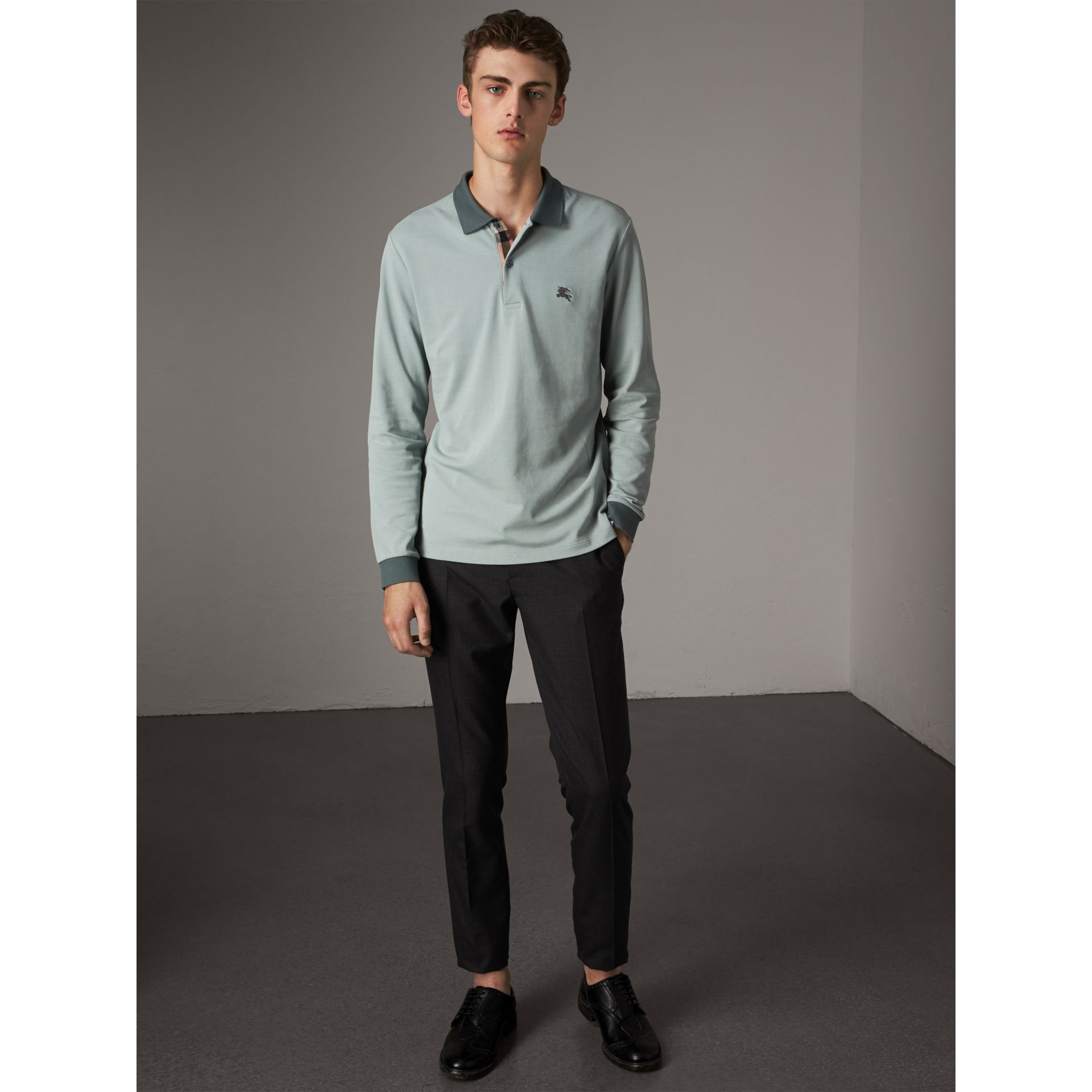 Long-sleeve Cotton Piqué Polo Shirt in Eucalyptus Green - Men | Burberry United Kingdom - gallery image 4