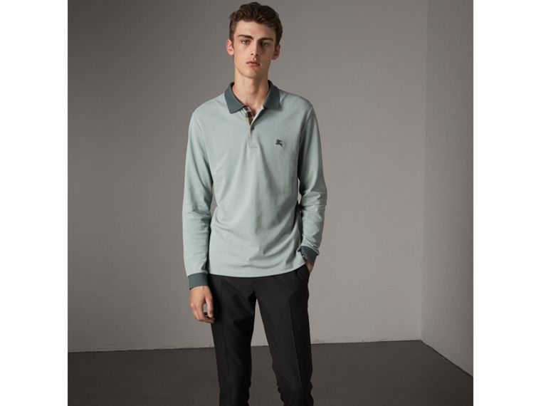 Long-sleeve Cotton Piqué Polo Shirt in Eucalyptus Green - Men | Burberry United Kingdom - cell image 4