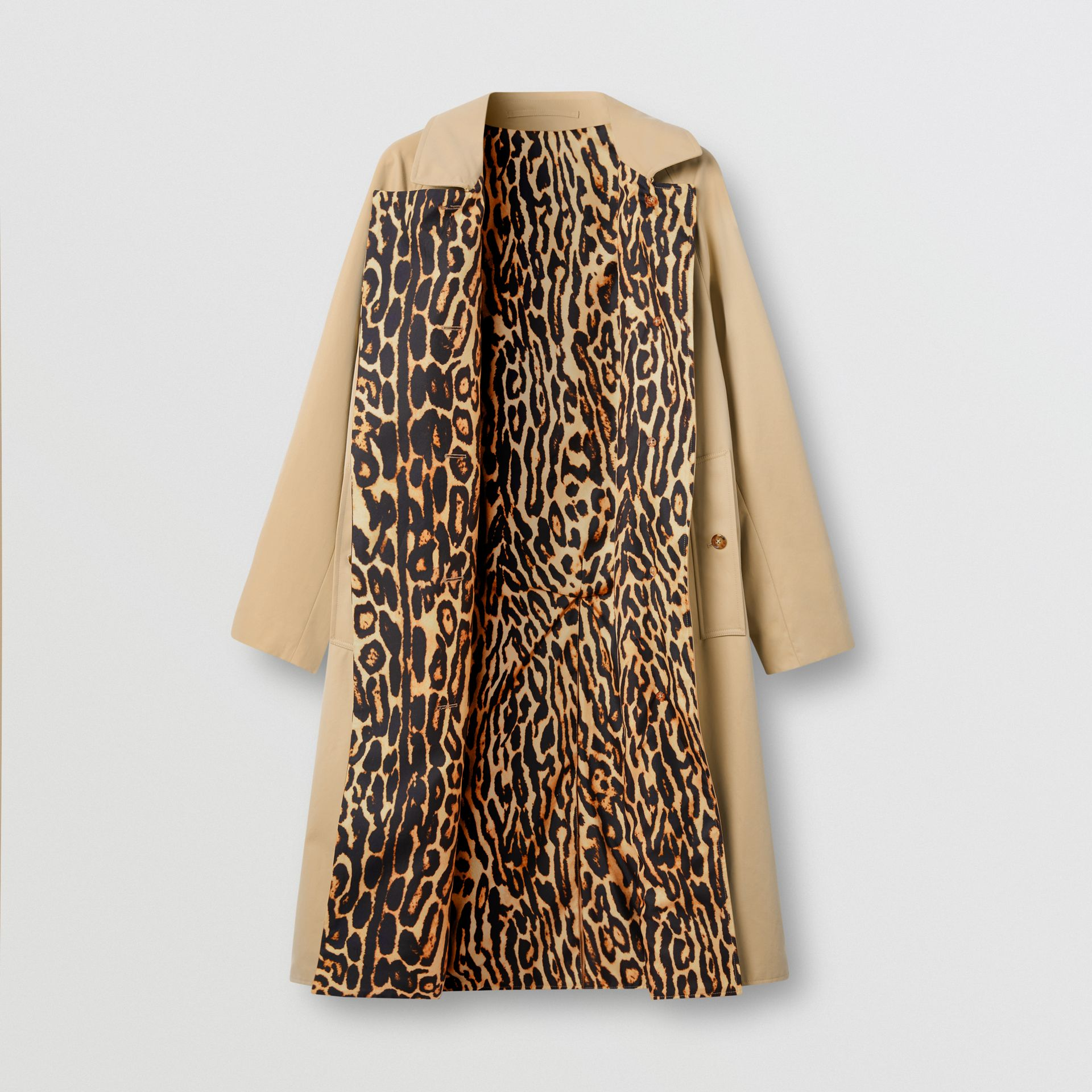Leopard Print-lined Cotton Gabardine Car Coat in Honey - Women | Burberry Australia - gallery image 3