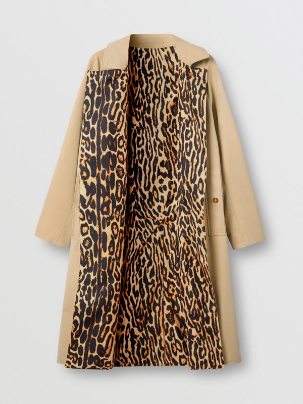 Leopard Print-lined Cotton Gabardine Car Coat in Honey - Women | Burberry Australia - cell image 3