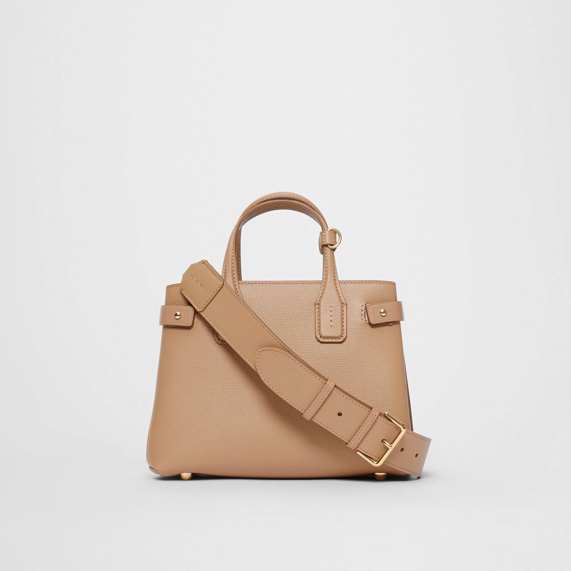 The Small Banner in Leather and Vintage Check in Camel - Women | Burberry - gallery image 7