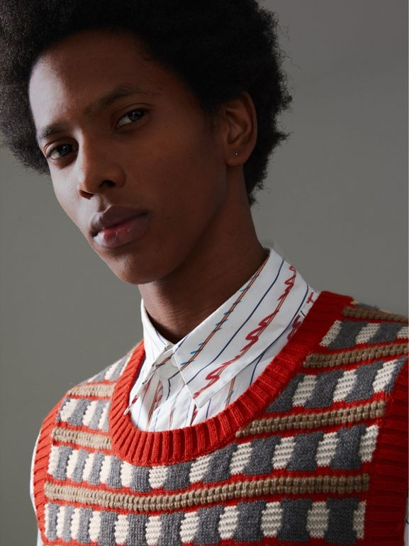 Geometric Cashmere Tank Top in Bright Red - Men | Burberry United Kingdom - cell image 1