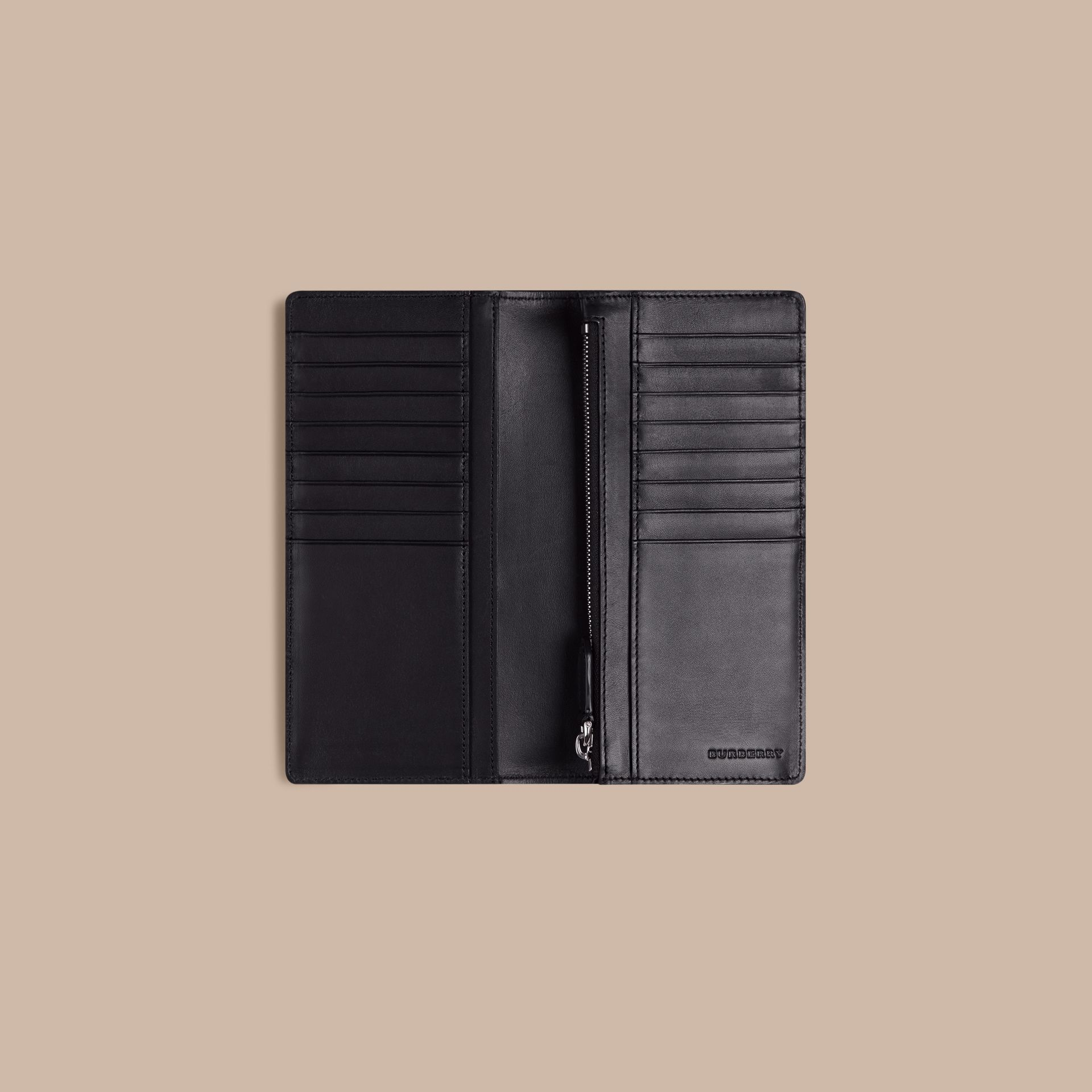 London Check and Leather Continental Wallet in Navy/black - gallery image 4