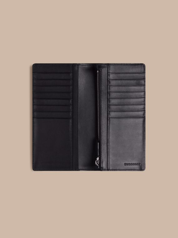 London Check and Leather Continental Wallet in Navy/black - Men | Burberry Australia - cell image 3