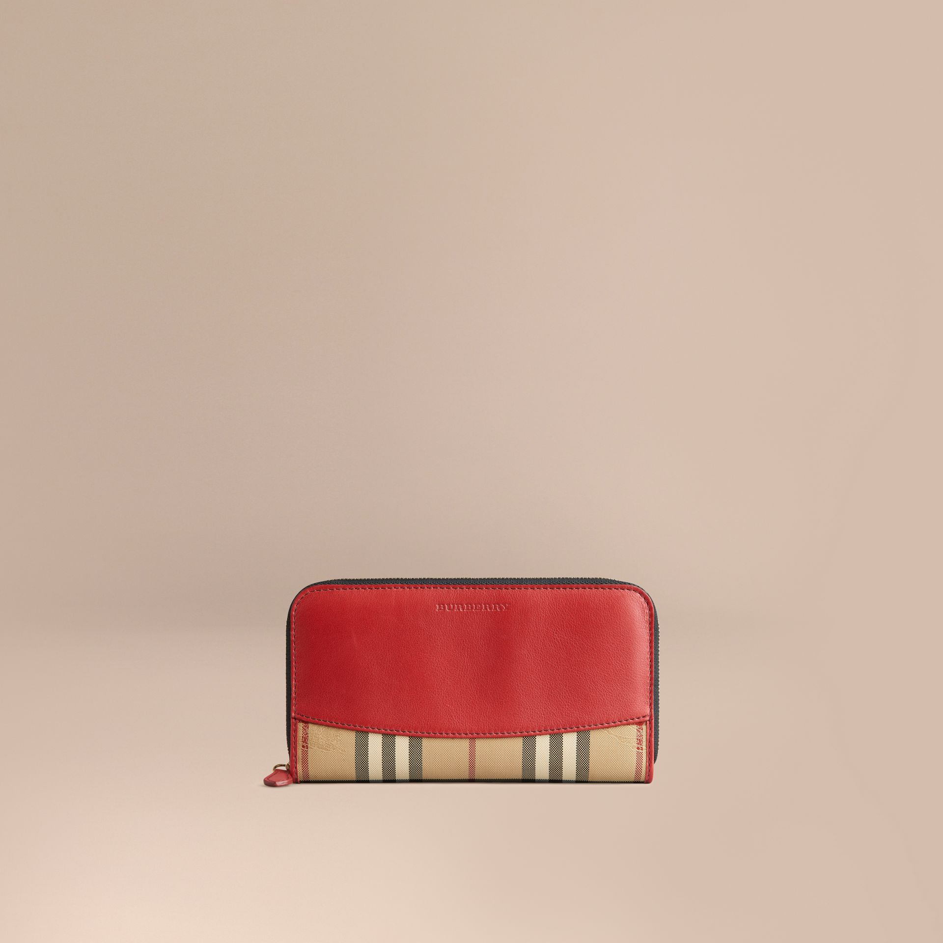 Horseferry Check and Leather Ziparound Wallet in Parade Red - Women | Burberry United Kingdom - gallery image 1