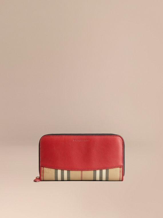 Horseferry Check and Leather Ziparound Wallet in Parade Red