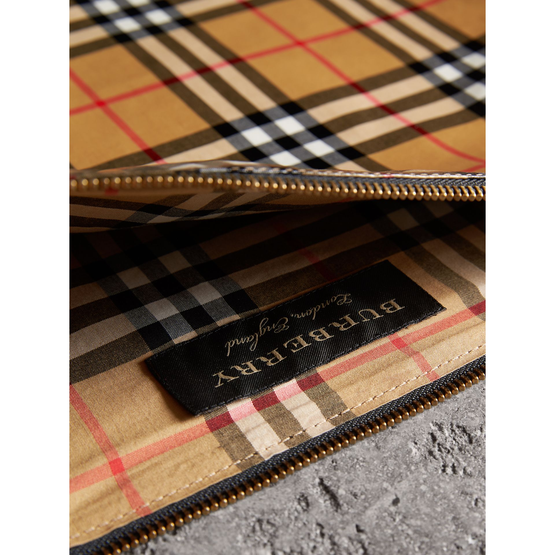 Large Coated Vintage Check Pouch in Black | Burberry Canada - gallery image 7
