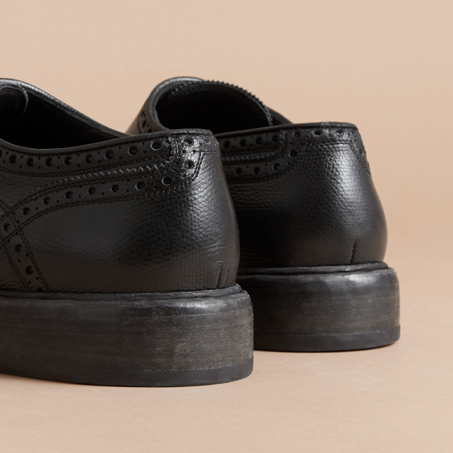 Leather Brogues with Asymmetric Closure in Black - Men | Burberry - gallery image 4