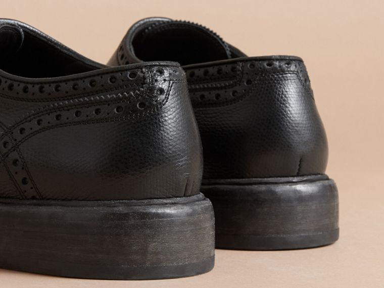 Leather Brogues with Asymmetric Closure in Black - Men | Burberry - cell image 4