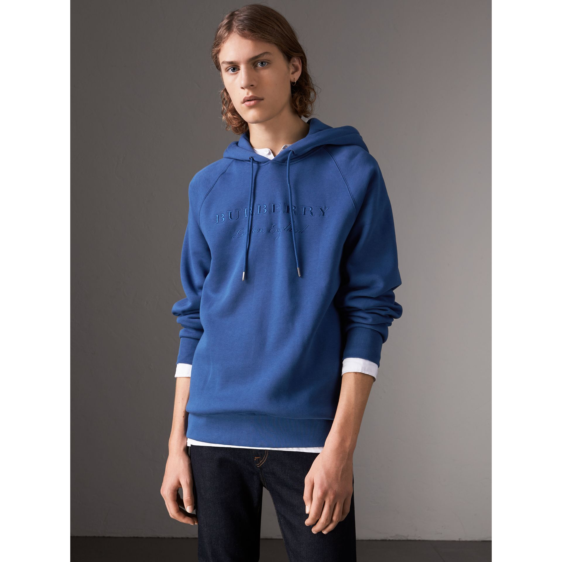 Embroidered Hooded Sweatshirt in Bright Blue - Men | Burberry United Kingdom - gallery image 1