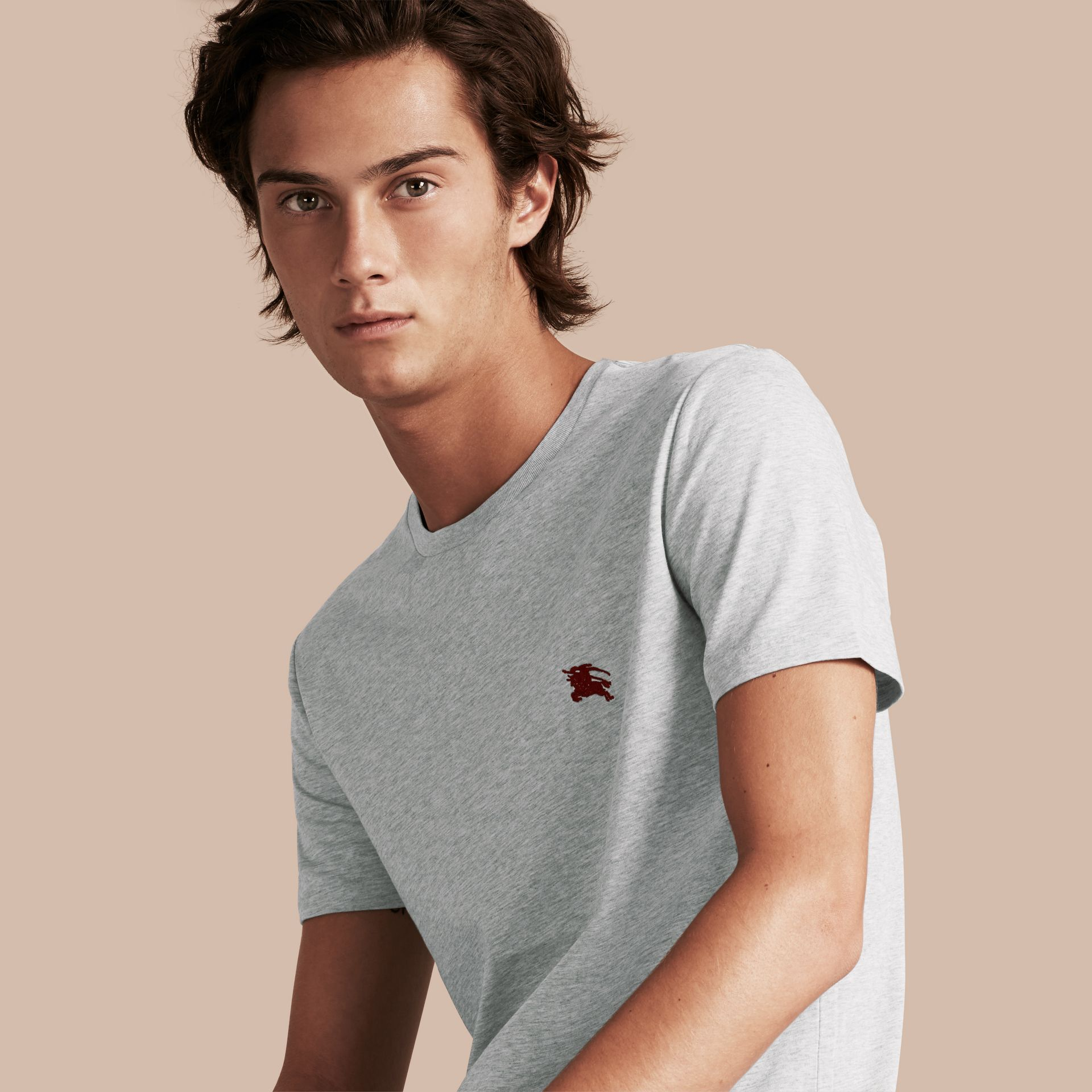Cotton Jersey T-shirt in Pale Grey Melange - Men | Burberry - gallery image 1