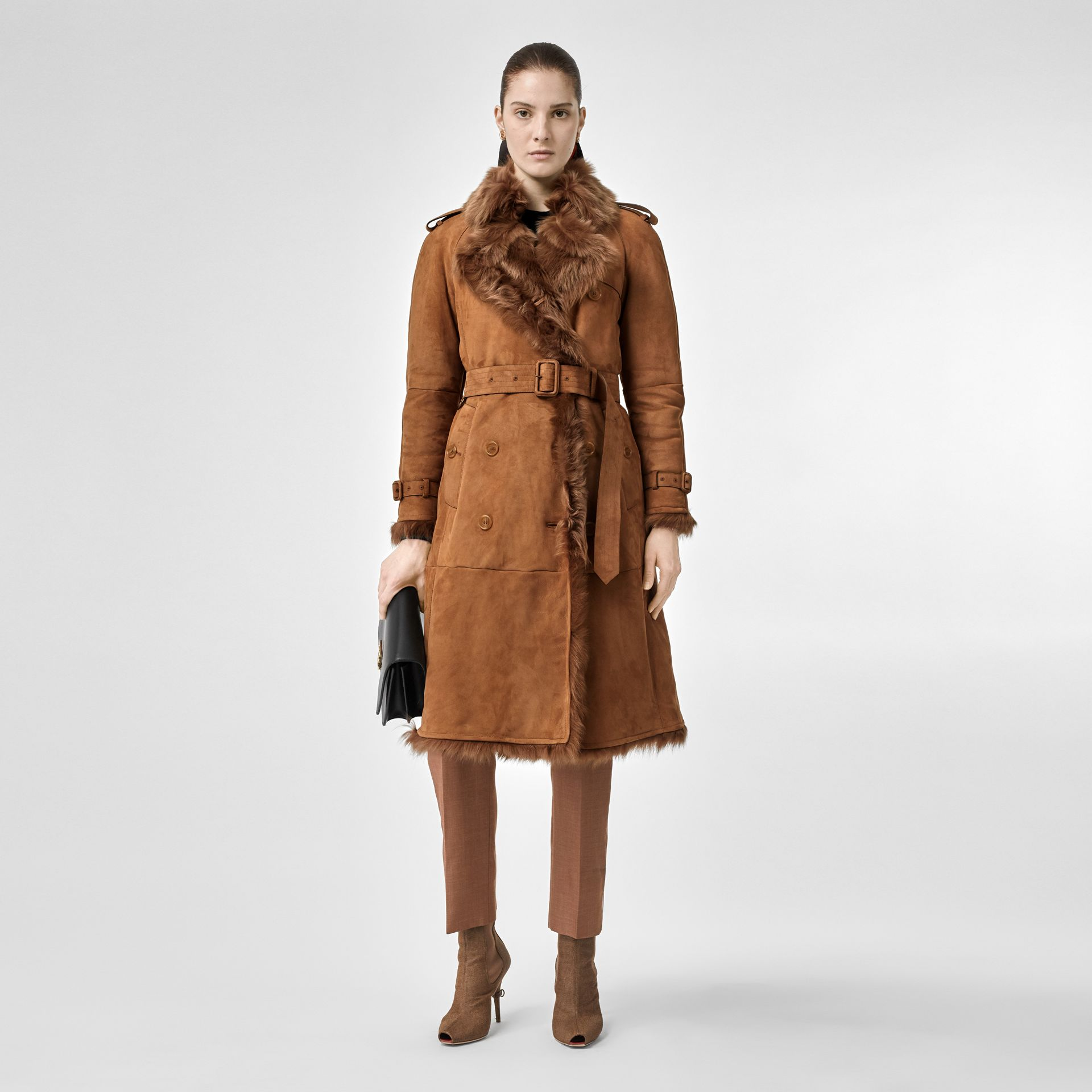 Shearling Trench Coat in Dark Camel - Women | Burberry - gallery image 0