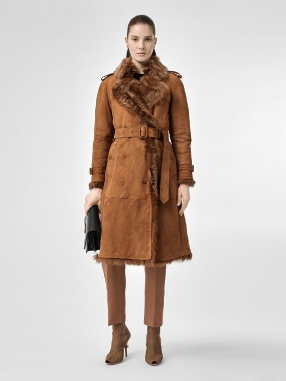 Shearling Trench Coat in Dark Camel
