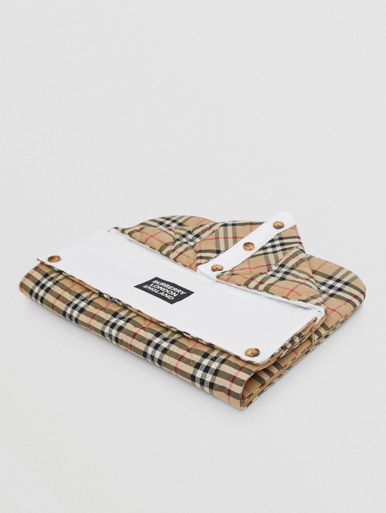 Logo Print Vintage Check Cotton Baby Nest in Archive Beige
