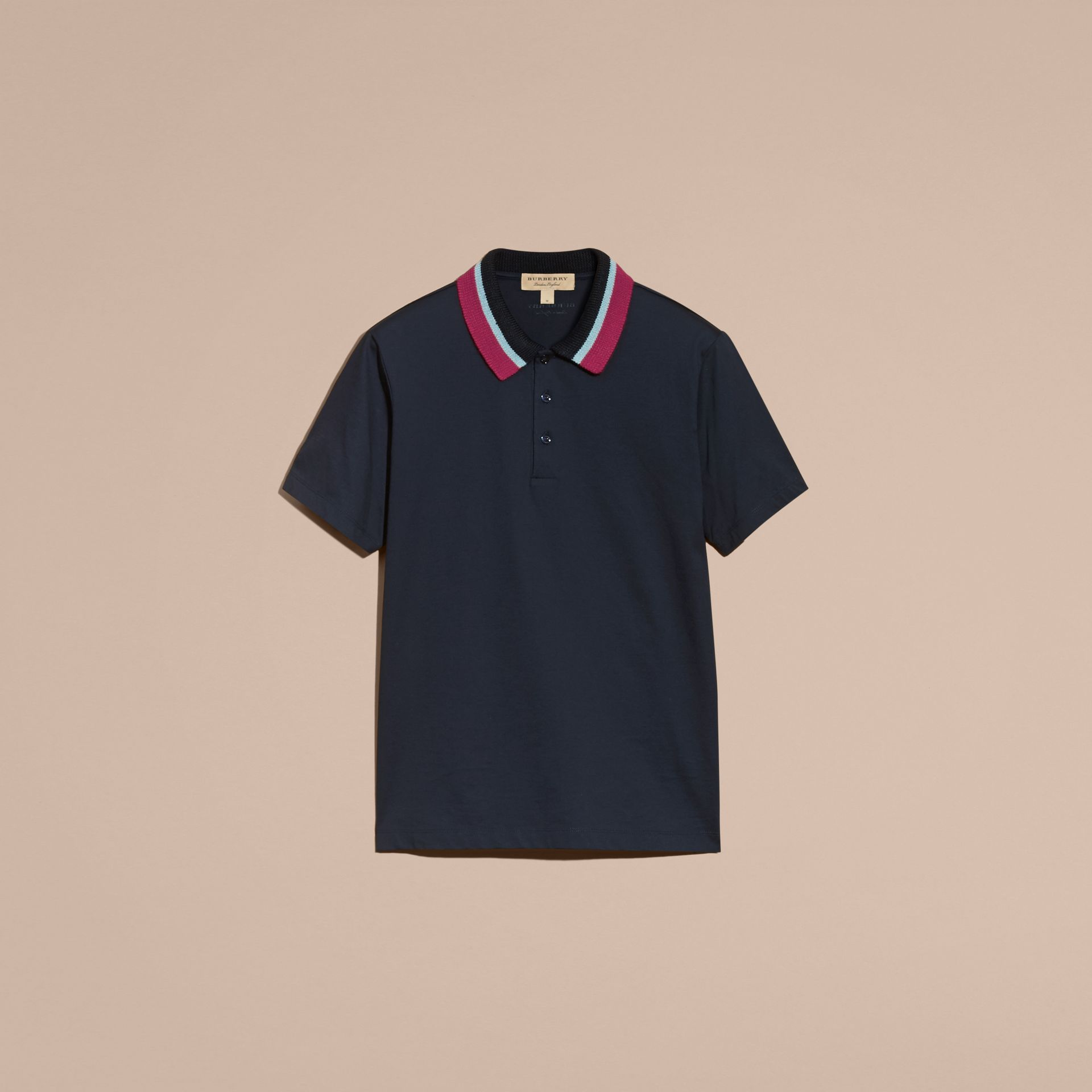 Cotton Polo Shirt with Knitted Collar Navy - gallery image 4