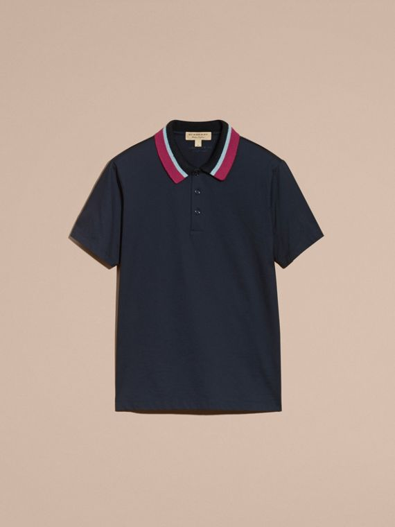 Cotton Polo Shirt with Knitted Collar Navy - cell image 3