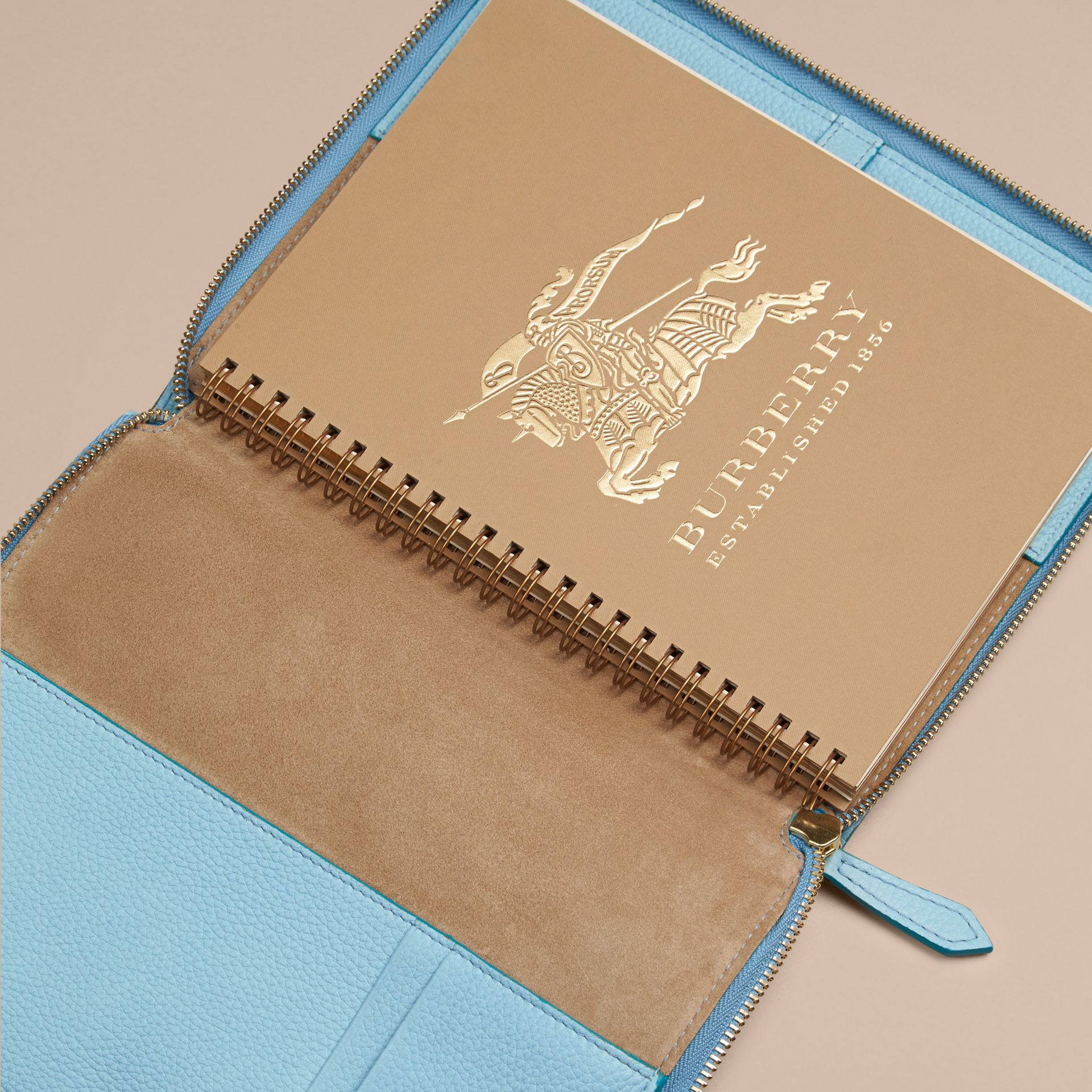 Bright mineral blue Ziparound Check-Embossed Leather A5 Notebook Bright Mineral Blue - gallery image 3
