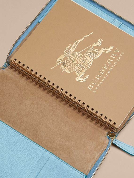 Bright mineral blue Ziparound Check-Embossed Leather A5 Notebook Bright Mineral Blue - cell image 2