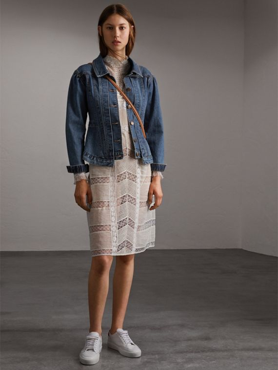 Puff-sleeve Denim Jacket - Women | Burberry Australia
