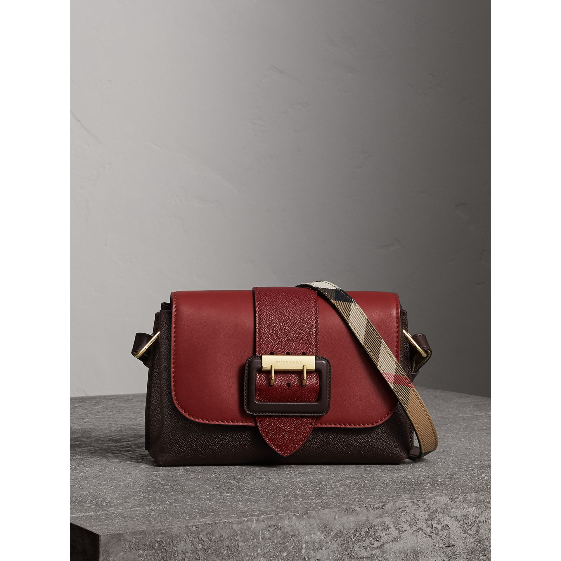 The Buckle Crossbody Bag in Colour-block Leather in Burgundy - Women | Burberry United States - gallery image 0