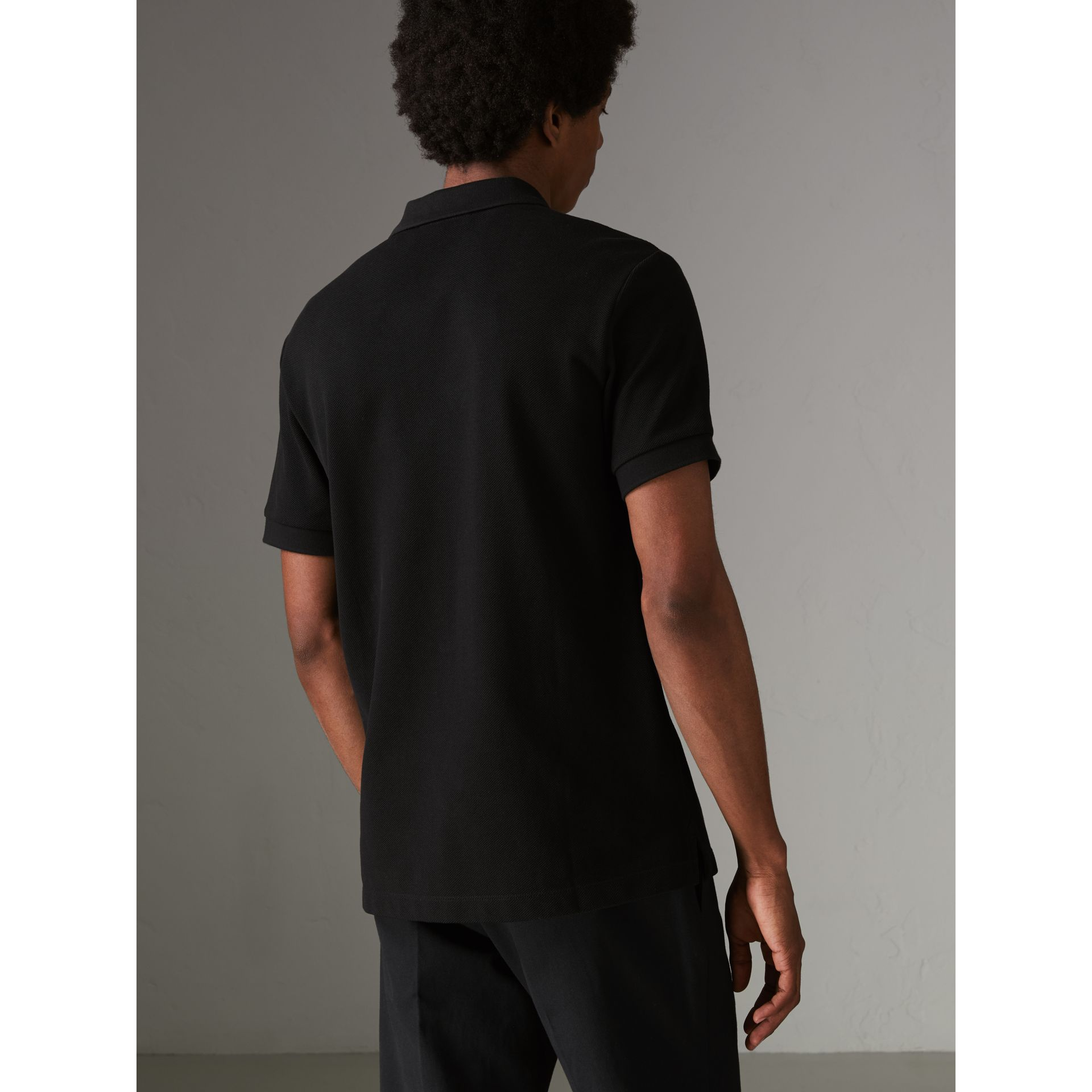 Check Placket Cotton Polo Shirt in Black - Men | Burberry Canada - gallery image 2