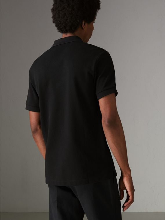 Check Placket Cotton Polo Shirt in Black - Men | Burberry United Kingdom - cell image 2