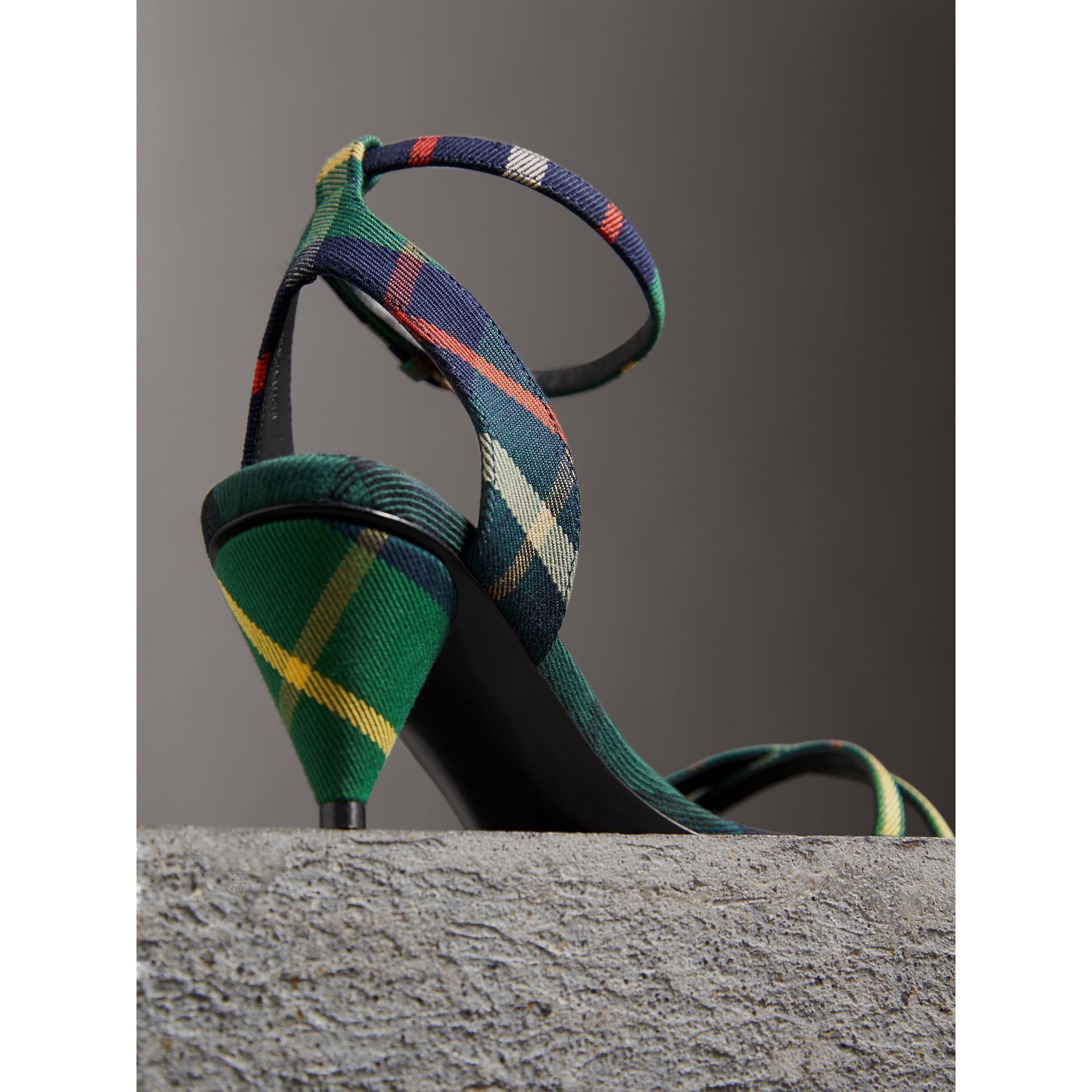 Tartan Cotton Cone-heel Sandals in Forest Green - Women | Burberry Australia - gallery image 1
