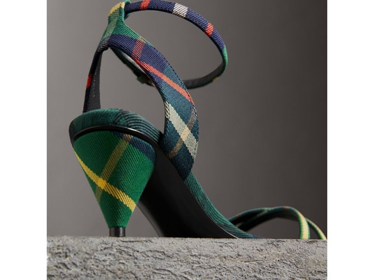 Tartan Cotton Cone-heel Sandals in Forest Green - Women | Burberry Australia - cell image 1