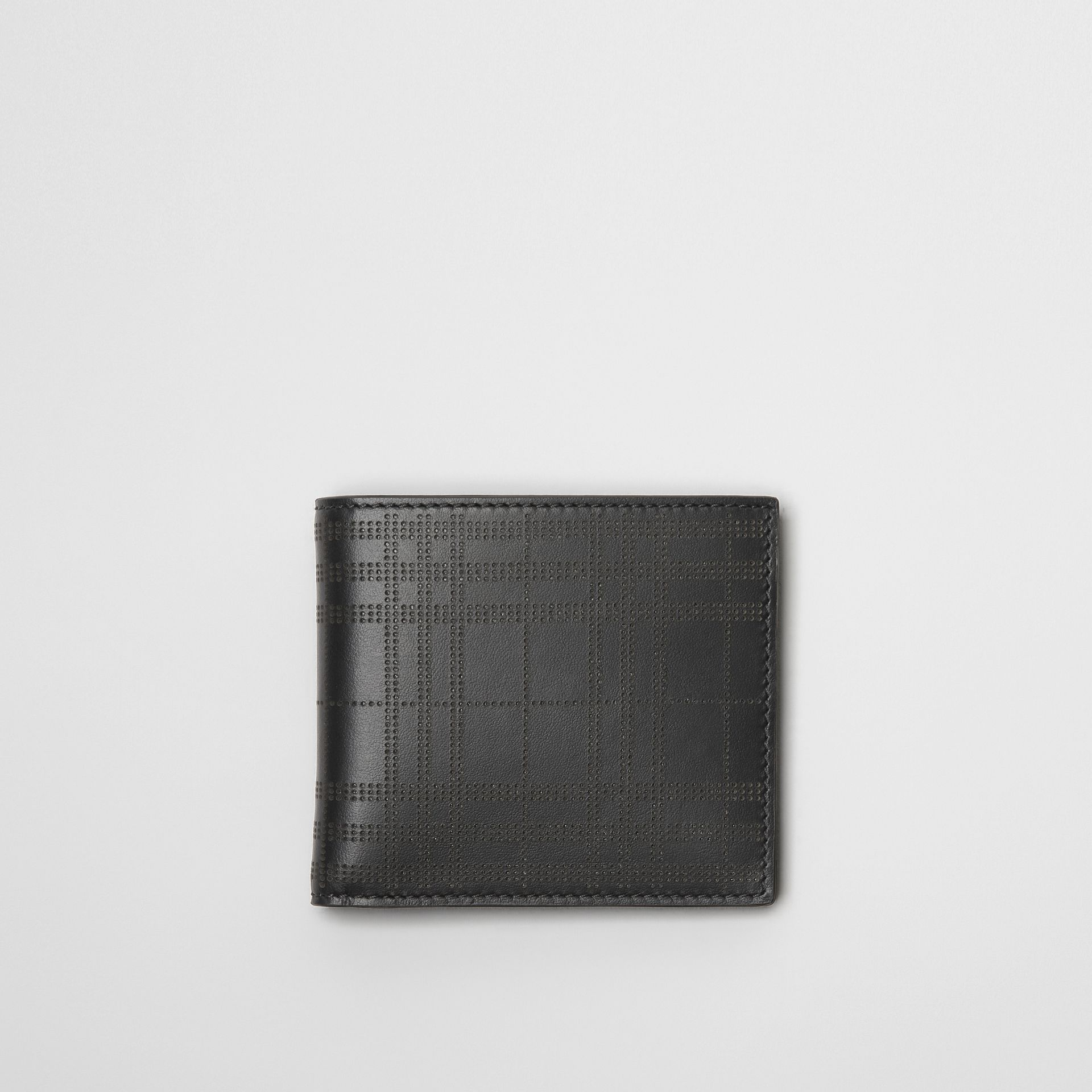 Perforated Check Leather International Bifold Wallet in Black - Men | Burberry Australia - gallery image 0