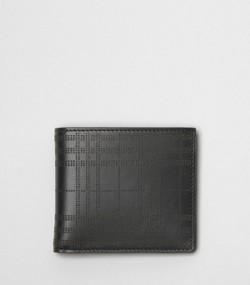 28b0ddec8 Cartera plegable para todas las divisas en piel a cuadros perforados (Negro)