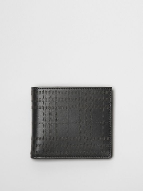 Perforated Check Leather International Bifold Wallet in Black