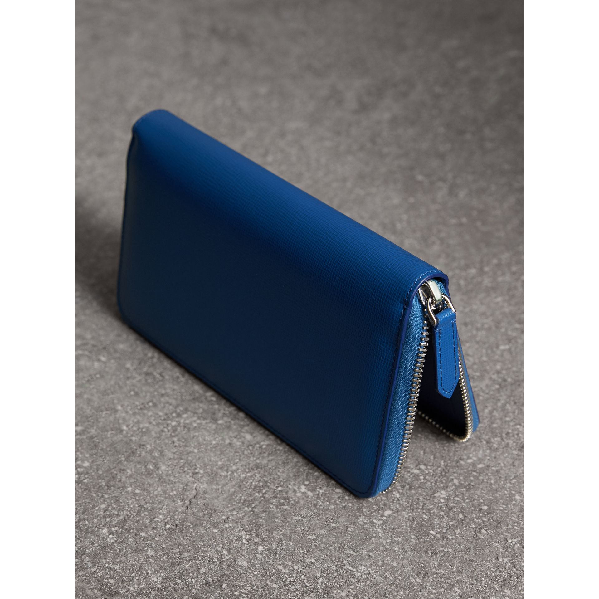 London Leather Ziparound Wallet in Deep Blue | Burberry - gallery image 2
