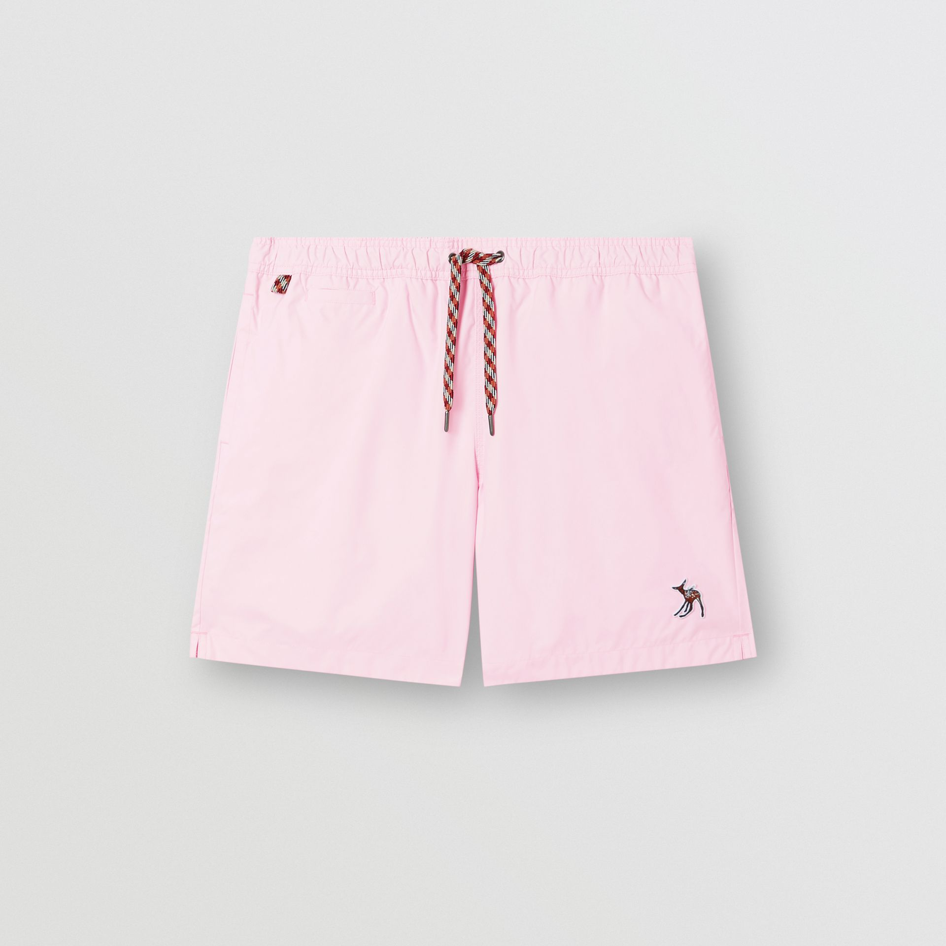 Deer Appliqué Drawcord Swim Shorts in Alabaster Pink - Men | Burberry - gallery image 2