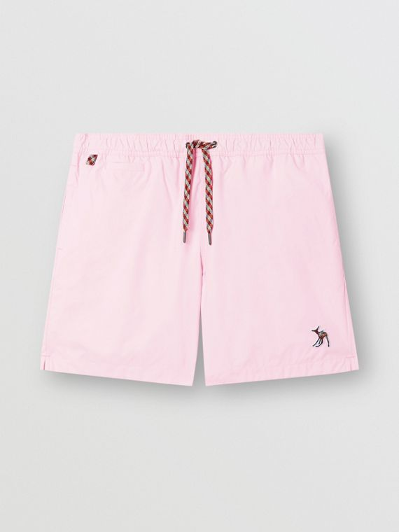Deer Appliqué Drawcord Swim Shorts in Alabaster Pink