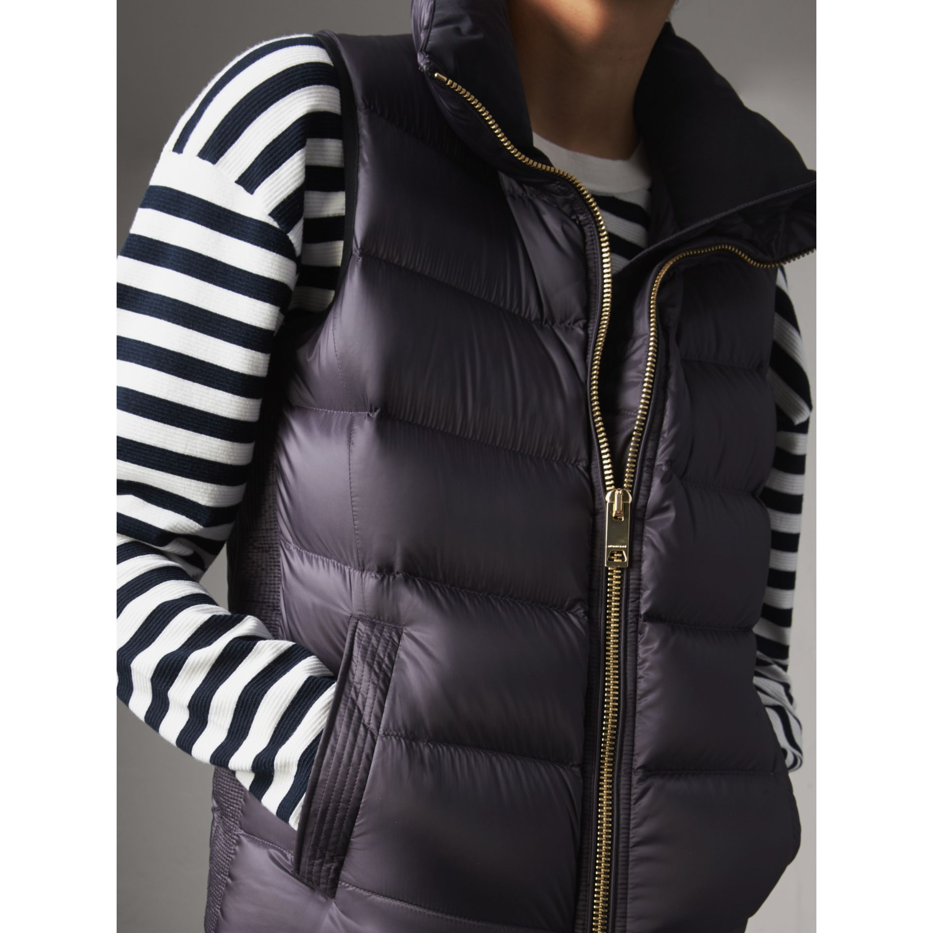 Down-filled Gilet in Blue Black - Women | Burberry Australia - gallery image 2