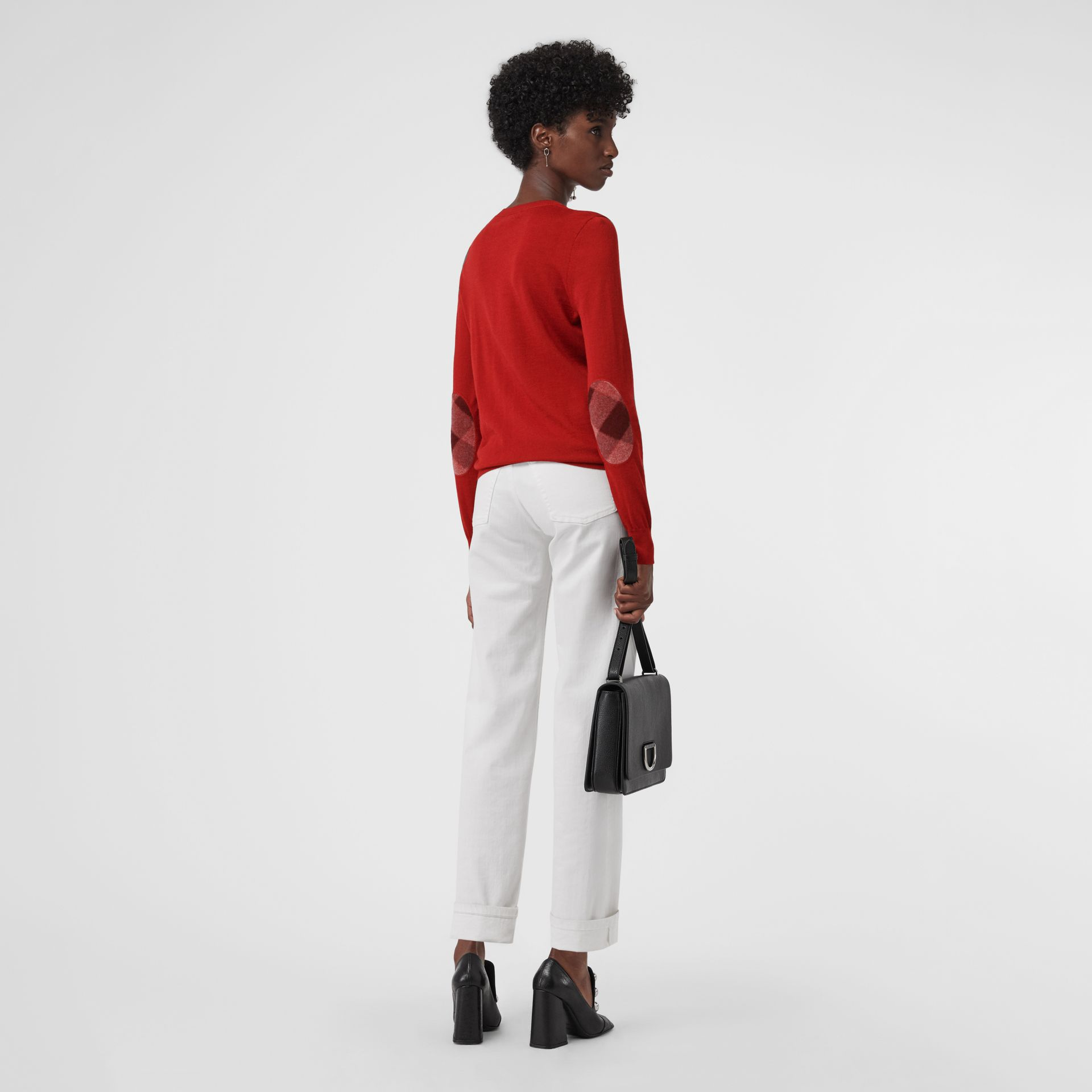 Check Detail Merino Wool Sweater in Parade Red - Women | Burberry - gallery image 0