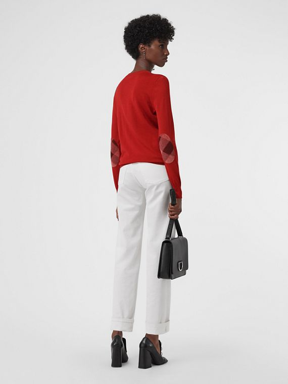Check Detail Merino Wool Sweater in Parade Red