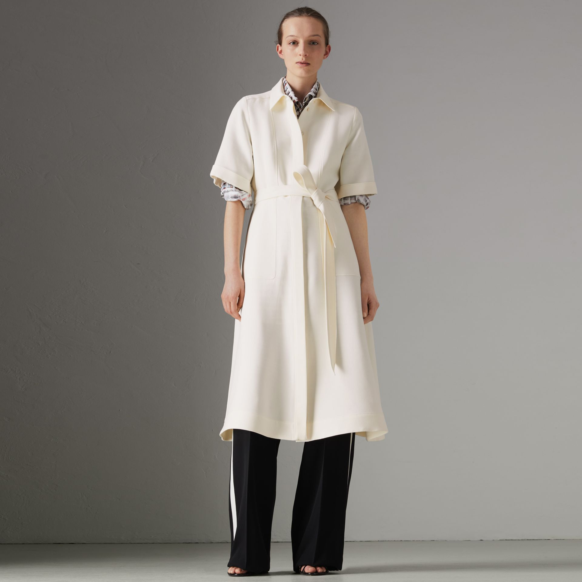 Short-sleeve Wool Silk Shirt Dress in Off White - Women | Burberry - gallery image 0