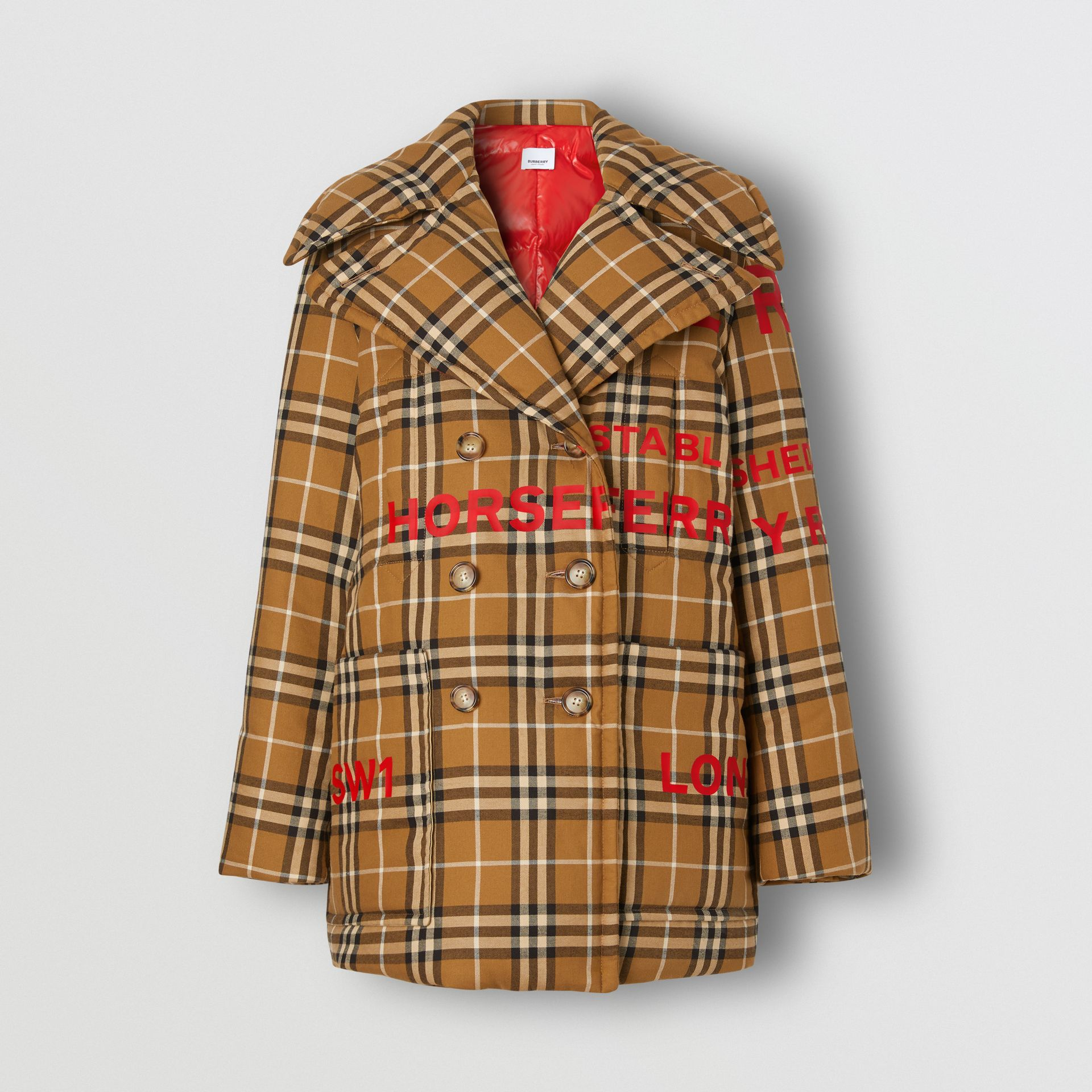 Horseferry Print Check Down-filled Oversized Pea Coat in Warm Walnut - Women | Burberry Singapore - gallery image 2
