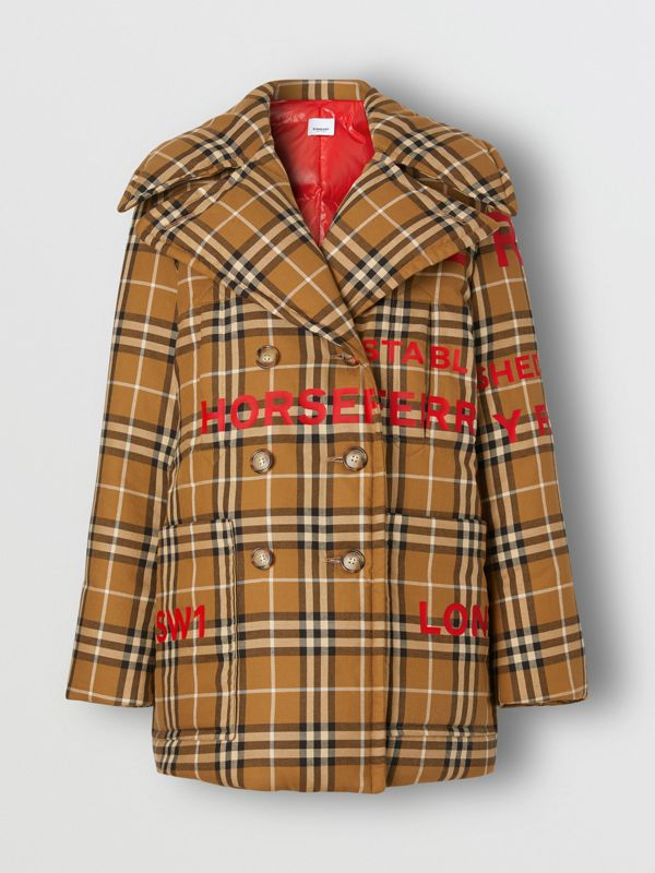 Horseferry Print Check Down-filled Oversized Pea Coat in Warm Walnut - Women | Burberry - cell image 3