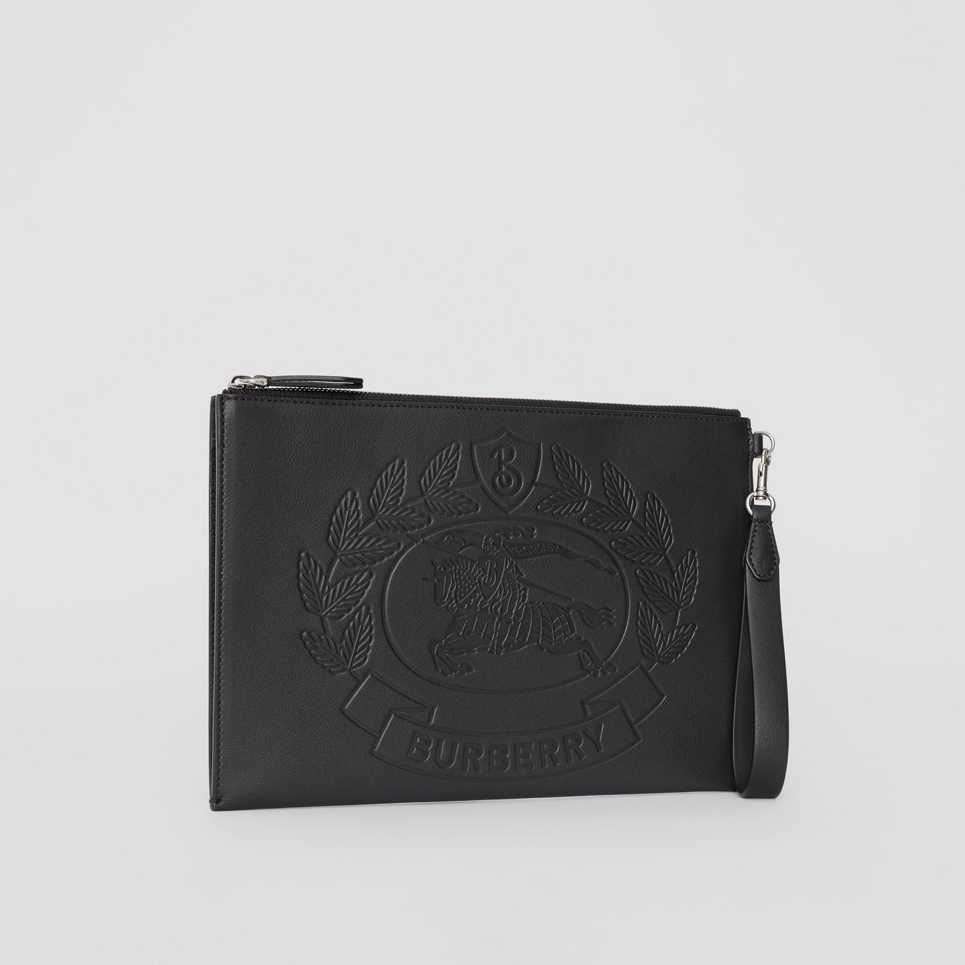 Embossed Crest Leather Zip Pouch in Black - Men | Burberry - gallery image 4