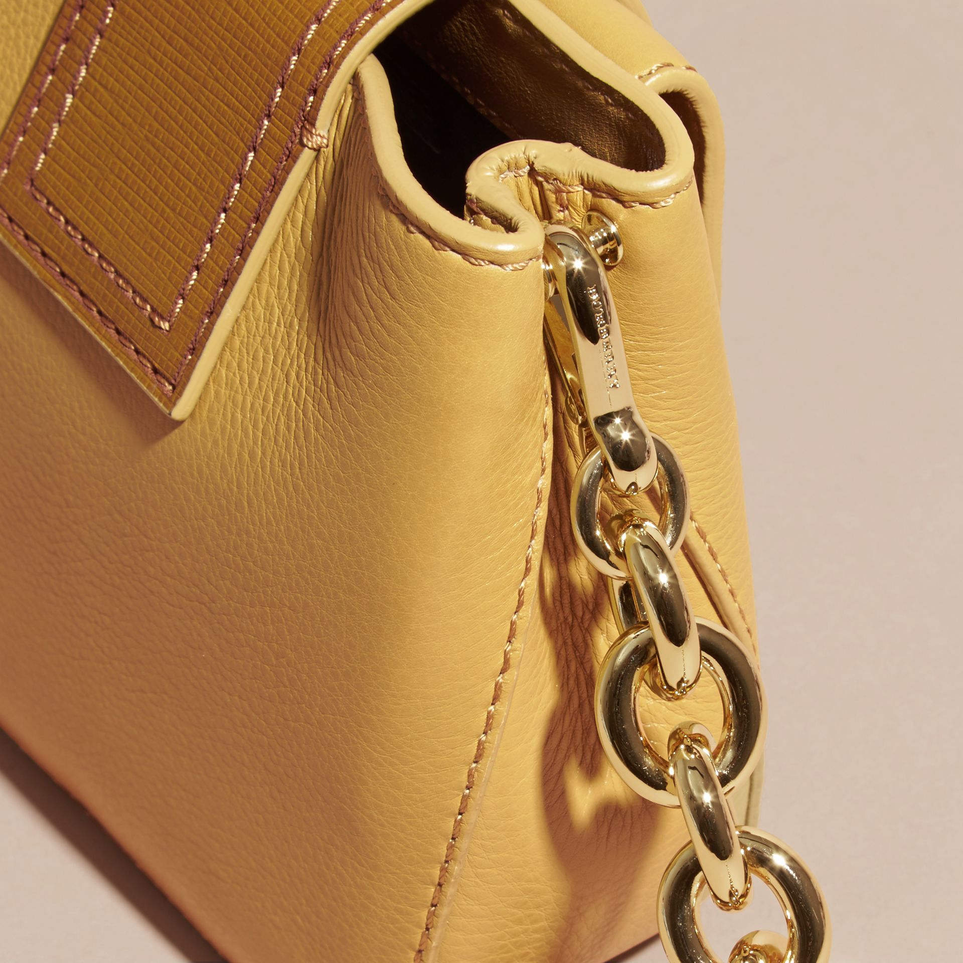 Ochre yellow The Small Square Buckle Bag in Leather - gallery image 7