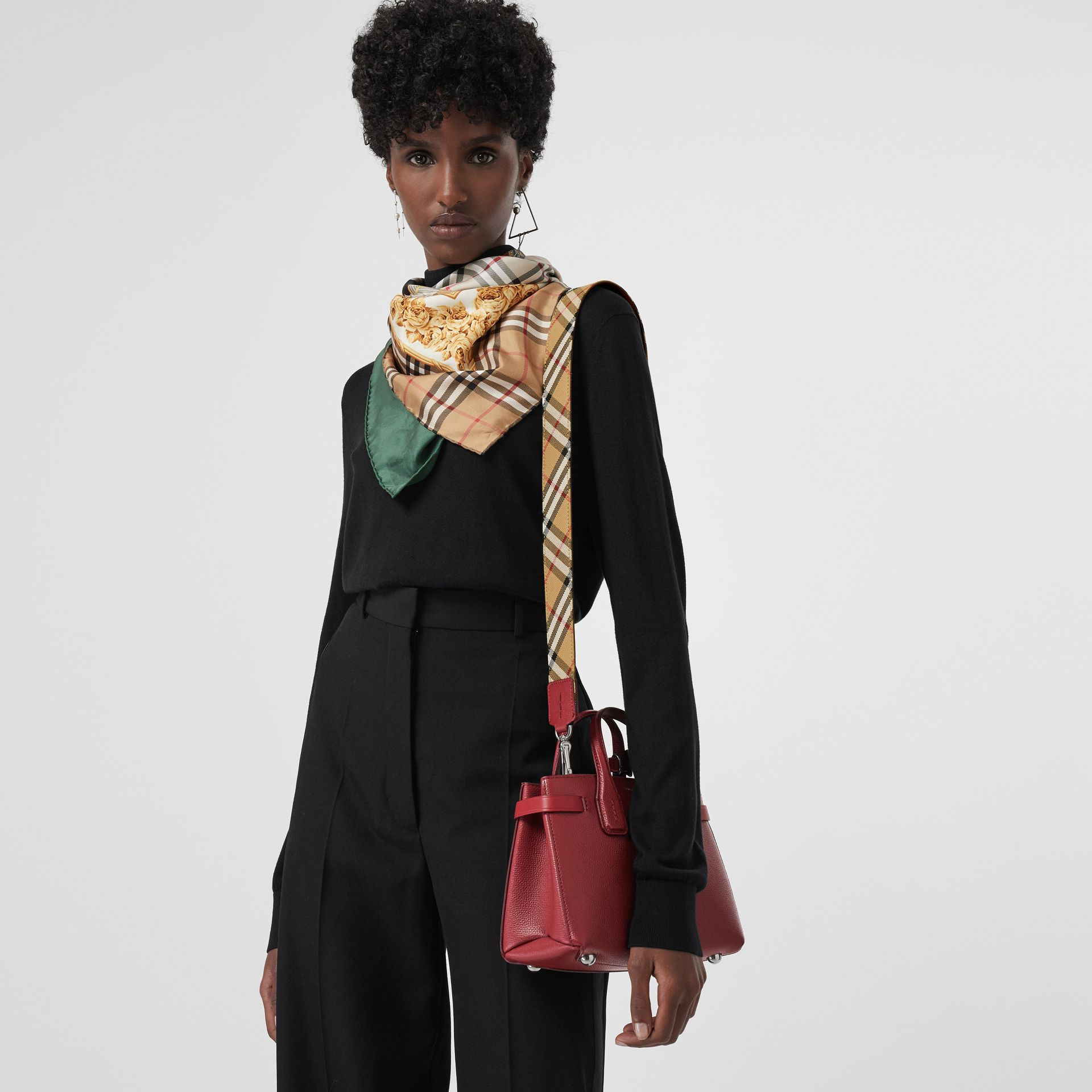 The Baby Banner in pelle e motivo Vintage Check (Cremisi) - Donna | Burberry - immagine della galleria 3