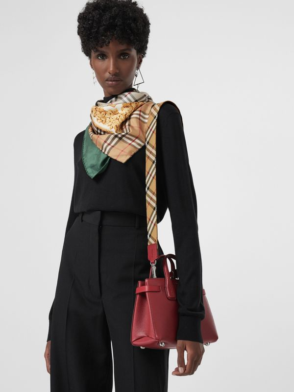 The Baby Banner in Leather and Vintage Check in Crimson - Women | Burberry Singapore - cell image 3