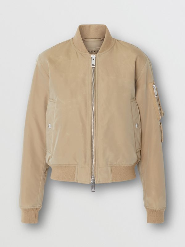 Union Jack Motif Nylon Bomber Jacket in Honey - Women | Burberry - cell image 3