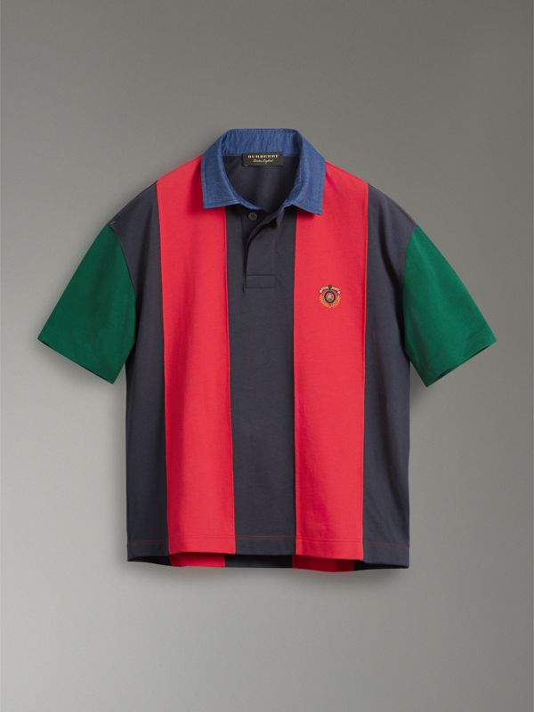Reissued Striped Cotton Polo Shirt in Bright Red - Men | Burberry Australia - cell image 3