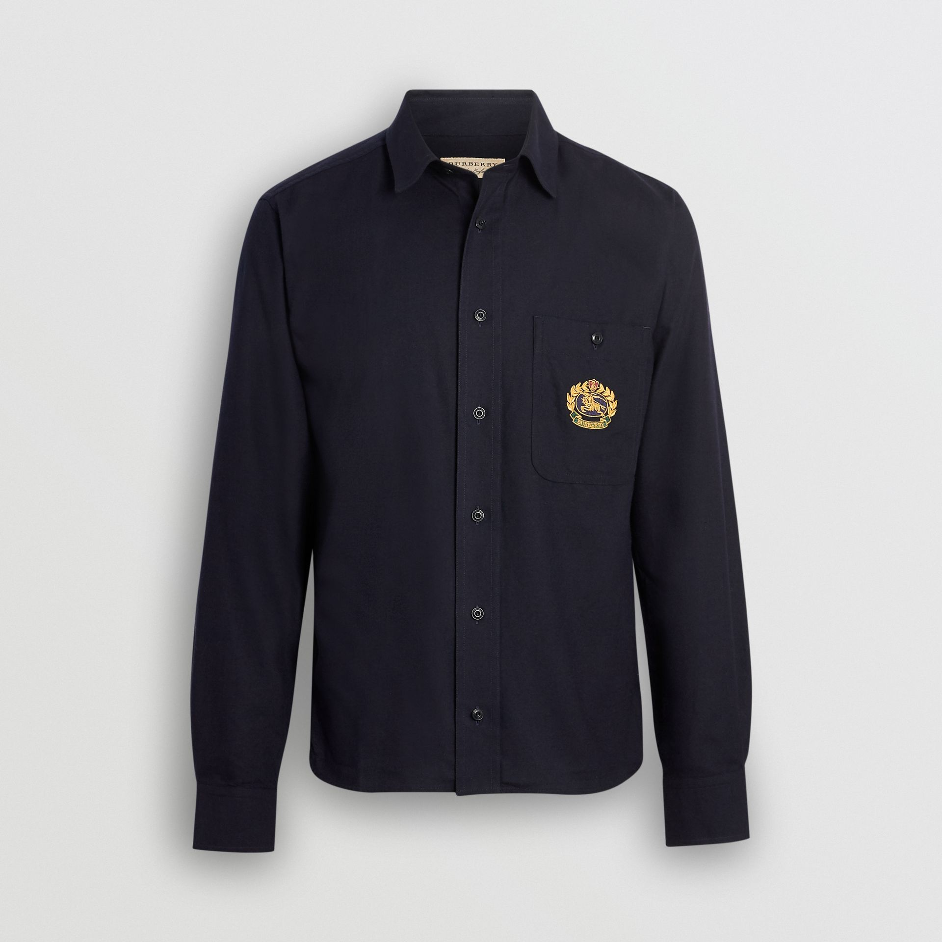 Embroidered Crest Flannel Shirt in Dark Navy - Men | Burberry Singapore - gallery image 3