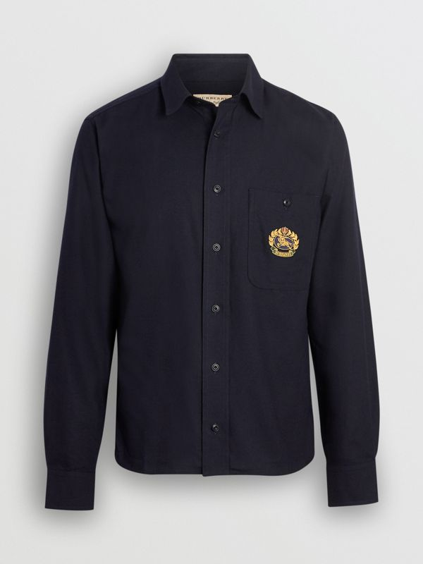 Embroidered Crest Flannel Shirt in Dark Navy - Men | Burberry Singapore - cell image 3